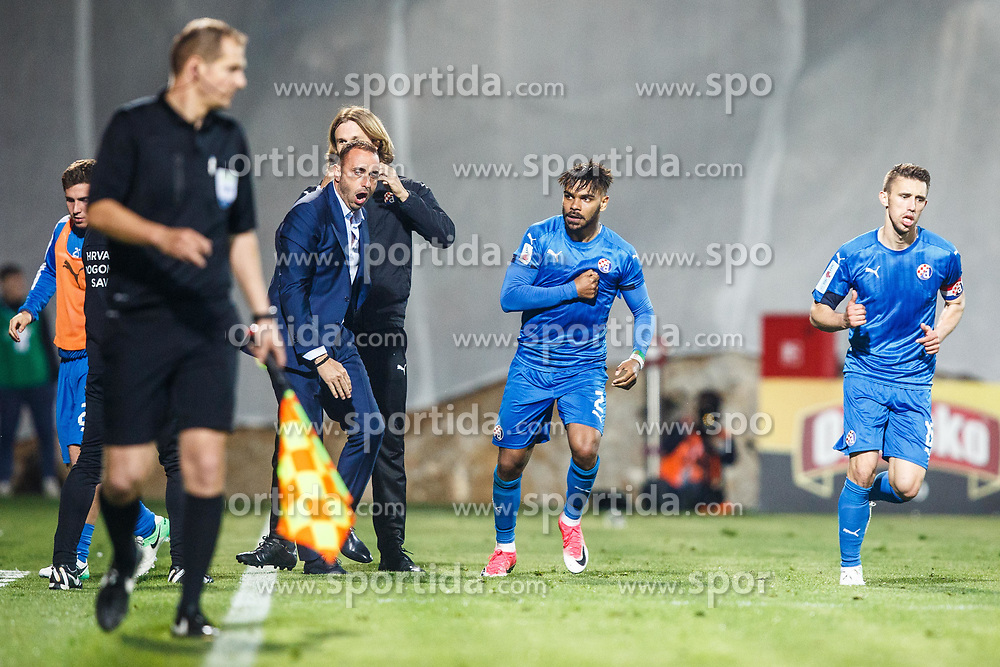 Hilal Soudani #2 of GNK Dinamo Zagreb  Josip Pivaric #19 of GNK Dinamo Zagreb and Ivaylo Petev head coach of Ivaylo Petev during football match between HNK Rijeka and GNK Dinamo Zagreb in Round #27 of 1st HNL League 2016/17, on November 5, 2016 in Rujevica stadium, Rijeka, Croatia. Photo by Grega Valancic / Sportida