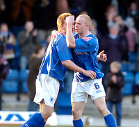 Photo: Leigh Quinnell.<br /> Chesterfield v Southend United. Coca Cola League 1. 18/02/2006. Derek Niven(R) celebrates his goal for Chesterfield with Jamie O'Hara.