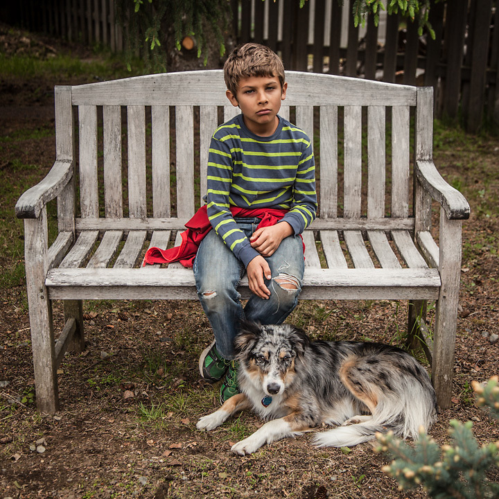 Nico Munro-Carobano, age 8, with Molly at the home of Linda Duck, Anchorage