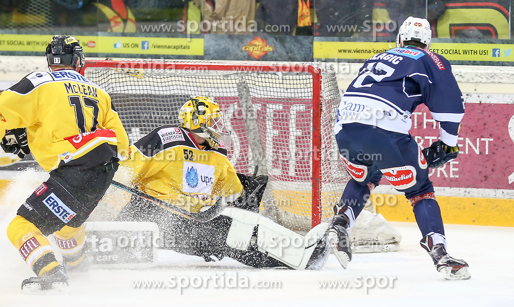 28.12.2015, Albert Schultz Halle, Wien, AUT, EBEL, UPC Vienna Capitals vs EC VSV, 36. Runde, im Bild Kurtis McLean (Vienna Capitals) , Nathan Lawson (Vienna Capitals) und Adis Alagic (EC VSV) // during the Erste Bank Icehockey League 36th round match between UPC Vienna Capitals and EC VSV at the Albert Schultz Halle in Vienna, Austria on 2015/12/28. EXPA Pictures © 2015, PhotoCredit: EXPA/ Alexander Forst