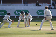 Ollie Rayner during his spell of 3-13 during the Specsavers County Champ Div 2 match between Middlesex County Cricket Club and Leicestershire County Cricket Club at Lord's Cricket Ground, St John's Wood, United Kingdom on 15 May 2019.