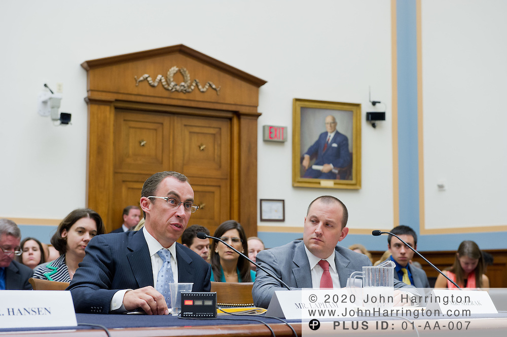 "Mr. John Lapham, Senior Vice President, General Counsel of Getty Images (left) delivers testimony as Mr. William Sherak, President, Stereo D (right) looks on during a hearing before the U.S. House of Representatives Committee on the Judiciary, Subcommittee on Courts, Intellectual Property and the Internet on the subject ""Innovation in America: The Role of Copyrights"", Thursday July 25, 2013 on Capitol Hill in Washington DC."