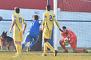 Glossop North End  Ben Richardson (11) goal scorer shoots  during the Evo-Stik Premier League match between Glossop North End and Scarborough Athletic at the Arthur Goldthorpe Stadium, Glossop, United Kingdom on 26 November 2016. Photo by Mark Pollitt.