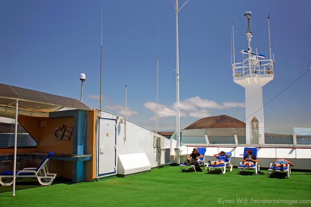 South America, Ecuador, Galapagos Islands. The upper deck of the m/v Galapagos Explorer II.