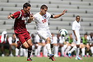 02 September 2012: NC State's Nazmi Albadawi (10) and Santa Clara's Max Ornstil (6). The North Carolina State University Wolfpack defeated the Santa Clara University Broncos 2-1 at Koskinen Stadium in Durham, North Carolina in a 2012 NCAA Division I Men's Soccer game.