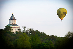April 28, 2018 - Sobotka, Czech Republic - Romantic balloon flight over the Humprecht Chateau of the Bohemian Paradise in the Czech Republic, April 28, 2018. (Credit Image: © Slavek Ruta via ZUMA Wire)