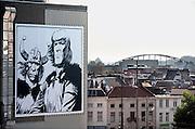 Nederland,Arnhem, 17-10-2006..In Arnhem hangen door de stad afbeeldingen van Hans Kresse, tekenaar van Eric de Noorman, en tekeningen gemaakt door hedendaagse tekenaars, als ode aan de in Arnhem geboren Kresse, die 60 jaar geleden de eerste Eric tekende...Foto: Flip Franssen/Hollandse Hoogte