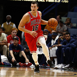 Oct 3, 2017; New Orleans, LA, USA; Chicago Bulls guard Paul Zipser (16) against the New Orleans Pelicans during a NBA preseason game at the Smoothie King Center. The Bulls defeated the Pelicans 113-109. Mandatory Credit: Derick E. Hingle-USA TODAY Sports