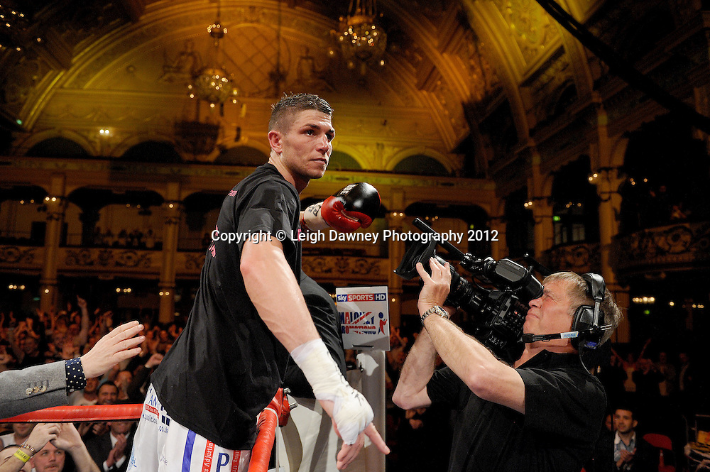 Brian Rose celebrates defeating Max Maxwell for the British Light Middleweight Champion at The Winter Gardens, Blackpool on the 31st March 2012. Frank Maloney and Steve Wood VIP Promotions. © Leigh Dawney Photography 2012.