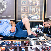 The Great British Tattoo Show getting bigger and better, hundreds of tattoo fans have tattoo done by tattoo artists and many live preformance and fashion show at Alexandra Palace, on 26 May 2019, London, UK.