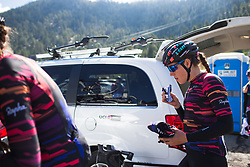 Tanja Erath (GER) of CANYON//SRAM Racing fuels before the start on Stage 2 of the Amgen Tour of California - a 108 km road race, starting and finishing in South Lake Tahoe on May 18, 2018, in California, United States. (Photo by Balint Hamvas/Velofocus.com)