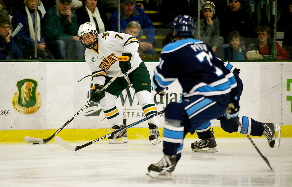 The men's hockey game between the Maine Blackbears and the Vermont Catamounts at Gutterson Fieldhouse on Friday night December 3, 2011 in Burlington, Vermont.