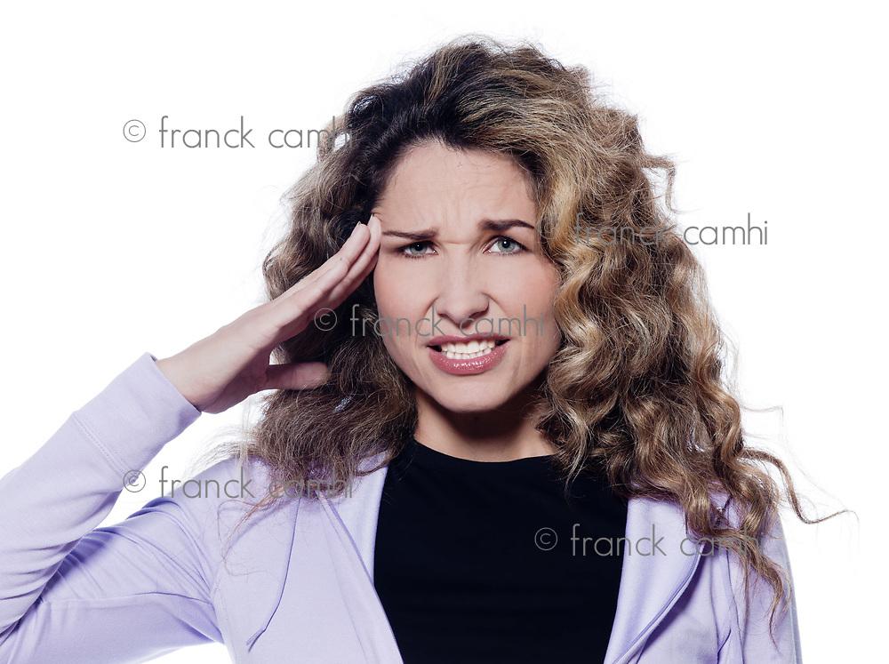 caucasian woman headache portrait isolated studio on white background