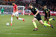 Salford City forward Jake Jervis in action during the EFL Sky Bet League 2 match between Salford City and Macclesfield Town at the Peninsula Stadium, Salford, United Kingdom on 23 November 2019.