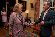 LADY ANTONIA PINTER; SIMON JENKINS, David Campbell and Knopf host the 20th Anniversary of the revival of Everyman's Library. Spencer House. St. James's Place. London. 7 July 2011. <br /> <br />  , -DO NOT ARCHIVE-© Copyright Photograph by Dafydd Jones. 248 Clapham Rd. London SW9 0PZ. Tel 0207 820 0771. www.dafjones.com.