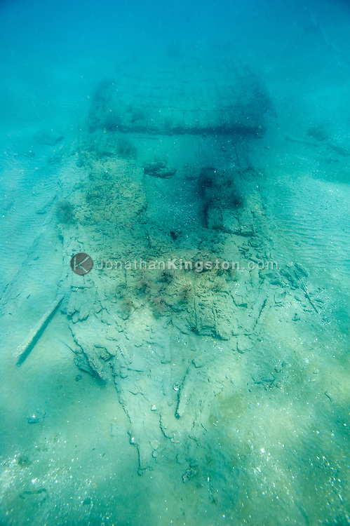 The shipwrecked hull of the 17th century Encarnación, a cargo vessel that was part of the Spanish Tierra Firme fleet, in the waters near Colon, Panama.  The hull was discovered during an expedition searching for Captain Henry Morgan's lost flagship Satisfaction.