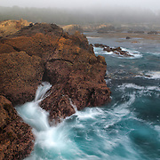Breaking Wave On A Foggy Shoreline - Weston Beach - Point Lobos, CA