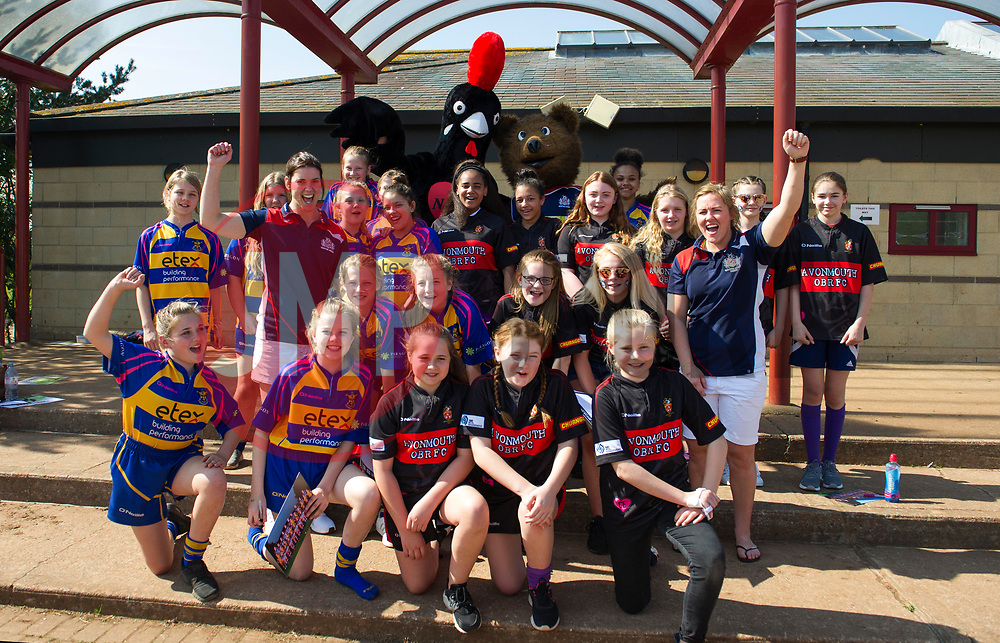 Sarah Hunter and Marlie Packer pose with girls from Clevedon RFC and Avonmouth RFC - Mandatory by-line: Paul Knight/JMP - 09/04/2017 - RUGBY - Cleve RFC - Bristol, England - Bristol Ladies v Saracens Women - RFU Women's Premiership Play-off Semi-Final