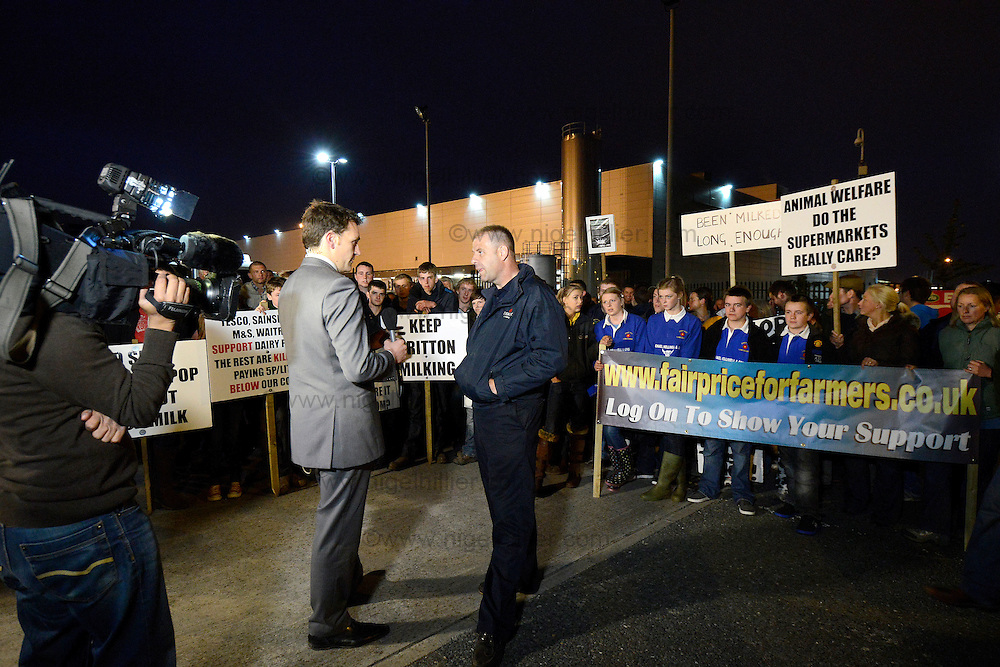 stephen britton one of the organisers being interviewd by the bbc outside arla in leeds