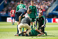 Real Betis's Dani C. attended by doctors during BBVA La Liga match. April 02,2016. (ALTERPHOTOS/Borja B.Hojas)