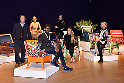 © Licensed to London News Pictures. 29/02/2016. (L to R) DAVE BENT, EMMA, VISCOUNT WEYMOUTH, SAMSON SOBOYE, MARK-FRANCIS VANDELLI, VICTORIA BAKER-HARBER and MAUREEN LIPMAN attend the Bonham's Chair Auction for Chiva African Aids Charity. They each designed chairs for the auction . London, UK. Photo credit: Ray Tang/LNP