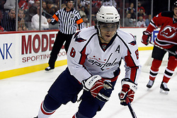 December 7, 2007; Newark, NJ, USA;  Washington Capitals left wing Alexander Ovechkin (8) during the first period of their game against the New Jersey Devils at the Prudential Center in Newark, NJ.