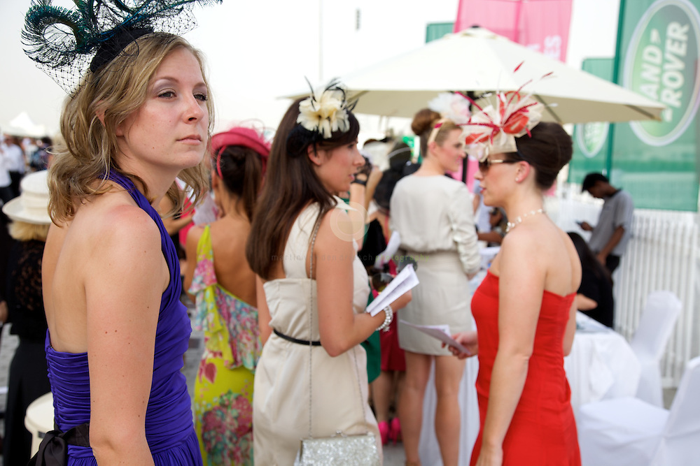 Ladies taking part at a fashion contest during the DWC 2012.