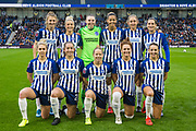 Brighton & Hove Albion FC team ahead of the FA Women's Super League match between Brighton and Hove Albion Women and Birmingham City Women at the American Express Community Stadium, Brighton and Hove, England on 17 November 2019.