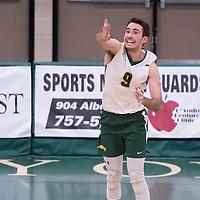3rd year outside hitter Dalton Wolfe (9) of the Regina Cougars in action during men's Volleyball home game on January 21 at Centre for Kinesiology, Health and Sport. Credit: Arthur Ward/Arthur Images