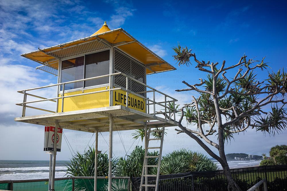 Lifeguard tower on the Gold Coast beach