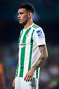 SEVILLE, SPAIN - OCTOBER 15:  Arnaldo Antonio Sanabria of Real Betis Balompie  looks on during the La Liga match between Real Betis and Valencia at Estadio Benito Villamarin on October 15 in Seville.  (Photo by Aitor Alcalde Colomer/Getty Images)
