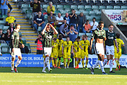 Goal - Antoni Sarcevic (7) of Plymouth Argyle looks dejectes after Kyle McFadzean (5) of Burton Albion scores a goal to make the score 2-3 during the EFL Sky Bet League 1 match between Plymouth Argyle and Burton Albion at Home Park, Plymouth, England on 20 October 2018.