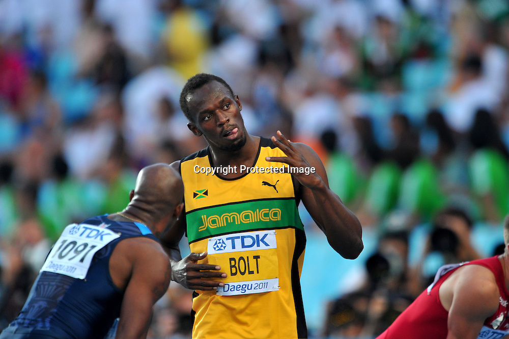 Usain Bolt (JAM),AUGUST 28, 2011 - Athletics :The 13th IAAF World Championships in Athletics - Daegu 2011, Men's 100m Semi-Final at the Daegu Stadium, Daegu, South Korea. (Photo by Jun Tsukida/AFLO SPORT) [0003]