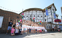 © Licensed to London News Pictures. Group photocall with 100-strong childrens choir and cast from West End shows including Jersey Boys, Matilda The Musical, Mamma Mia!, Les Miserables, and We Will Rock You , Shakespeare's Globe, London UK, 01 August 2013. Photo credit: Richard Goldschmidt/LNP