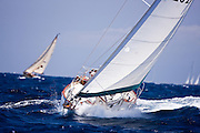 Solstice sailing in the 2010 Antigua Classic Yacht Regatta, Windward Race, day 4.