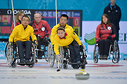 Qiang Zhang, Guangqin Xu, Wei Liu, Wheelchair Curling Semi Finals at the 2014 Sochi Winter Paralympic Games, Russia