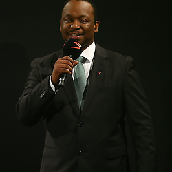 DURBAN, SOUTH AFRICA - AUGUST 28: Xola Ntshinga Supersport rugby commentator during the South African national rugby team World Cup Squad announcement at Beverly Hills Hotel on August 28, 2015 in Durban, South Africa. (Photo by Steve Haag/Gallo Images)