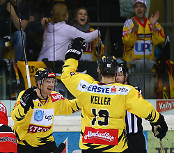 25.10.2013, Albert Schultz Eishalle, Wien, AUT, EBEL, UPC Vienna Capitals vs HC TWK Innsbruck, 27. Runde, im Bild Torjubel Jamie Fraser, (UPC Vienna Capitals, #44) und Justin Keller, (UPC Vienna Capitals, #19) // during the Erste Bank Icehockey League 27th Round match between UPC Vienna Capitals and HC TWK Innsbruck at the Albert Schultz Ice Arena, Vienna, Austria on 2013/10/25. EXPA Pictures © 2013, PhotoCredit: EXPA/ Thomas Haumer