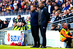 Mansfield Town manager David Flitcroft and Mansfield Town assistant manager Ben Futcher watch on - Mandatory by-line: Ryan Crockett/JMP - 04/05/2019 - FOOTBALL - Stadium MK - Milton Keynes, England - Milton Keynes Dons v Mansfield Town - Sky Bet League One