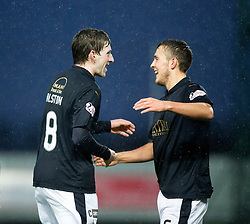 Falkirk's Blair Alston scoring their goal. <br /> Falkirk 1 v 0 Dumbarton, Scottish Championship game played 26/12/2015 at The Falkirk Stadium.