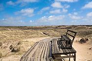 DEU, Germany, Schleswig-Holstein, North Sea,  Amrum island, dunes and plank roadway near Norddorf.<br /> <br /> DEU, Deutschland, Schleswig-Holstein, Nordseeinsel Amrum, Duenenlandschaft und Bohlenweg bei Norddorf.