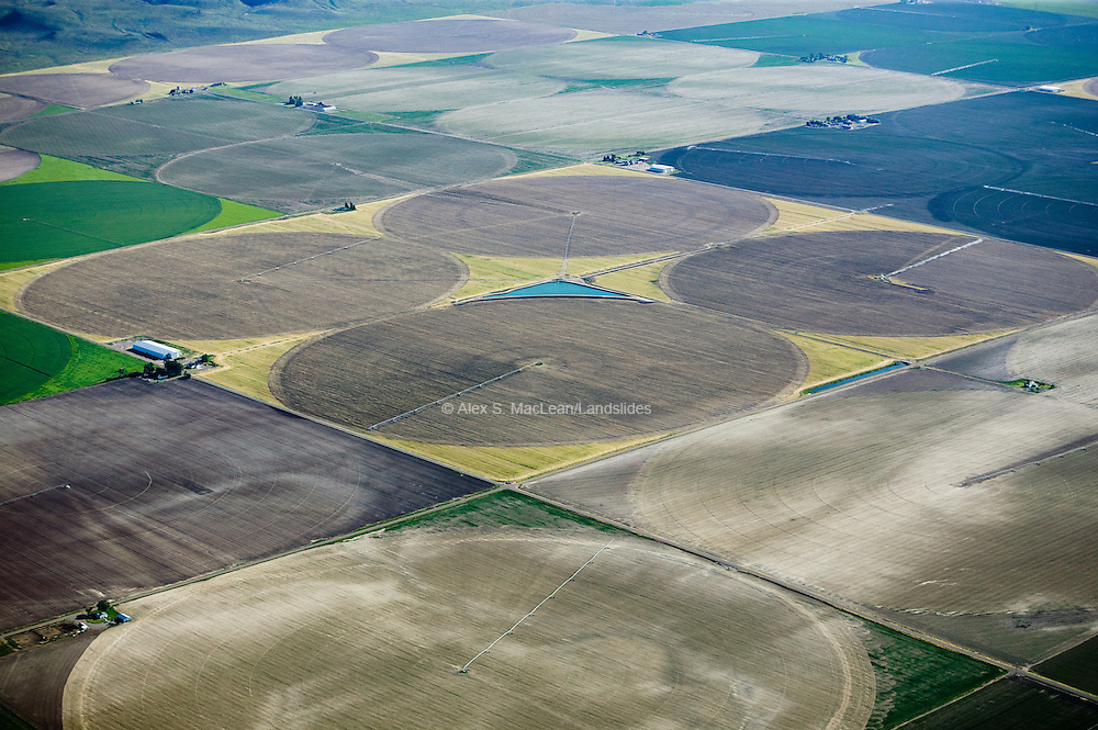 Pivot Irrigators in Snake River Valley, East of Twin Falls