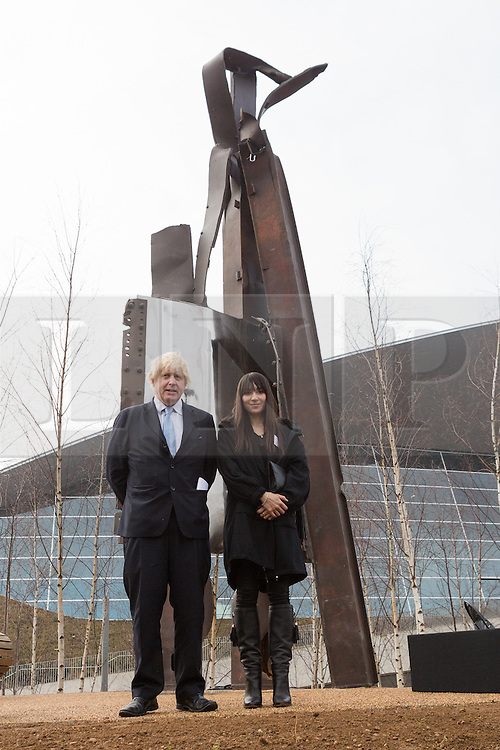 © Licensed to London News Pictures. 17/03/2015. London, UK. A steel sculpture crafted out of the 9/11 Twin Towers' steel wreckage is unveiled at a special ceremony at at the Queen Elizabeth Olympic Park in Stratford today. The artwork by American artist, Miya Ando commemorates the 10th anniversary of the 9/11 attacks and stands at 28 feet tall and weighs over 4 tons. Photo credit : Vickie Flores/LNP