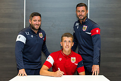 Bristol City Head Coach Lee Johnson and Assistant Head Coach Jamie McAllister look on as Aaron Parsons signs a new contract with Bristol City Under 23s ahead of the 2017/18 Season - Rogan/JMP - 11/07/2017 - Ashton Gate Stadium - Bristol, England.