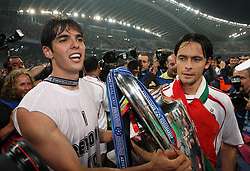 Athens, Greece - Wednesday, May 23, 2007: AC Milan's Kaka and Filippo Inzaghi celebrate winning the European Cup after beating Liverpool 2-1, during the UEFA Champions League Final at the OACA Spyro Louis Olympic Stadium.(Pic by Chris Ratcliffe/ Propaganda)