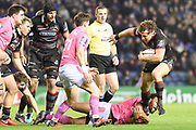 Try scorer Hamish Watson on the ball during the European Rugby Challenge Cup match between Edinburgh Rugby and Stade Francais at Murrayfield Stadium, Edinburgh, Scotland on 12 January 2018. Photo by Kevin Murray.