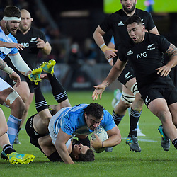 NZ's Ben Smith tackles Argentina captain Agustin Creevy during the Rugby Championship match between the New Zealand All Blacks and Argentina Pumas at Trafalgar Park in Nelson, New Zealand on Saturday, 8 September 2018. Photo: Dave Lintott / lintottphoto.co.nz
