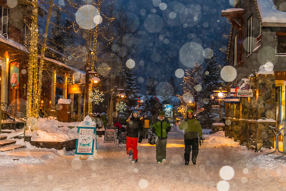 Snow falling in River Run Village during holidays, Keystone Resort, Colorado USA.