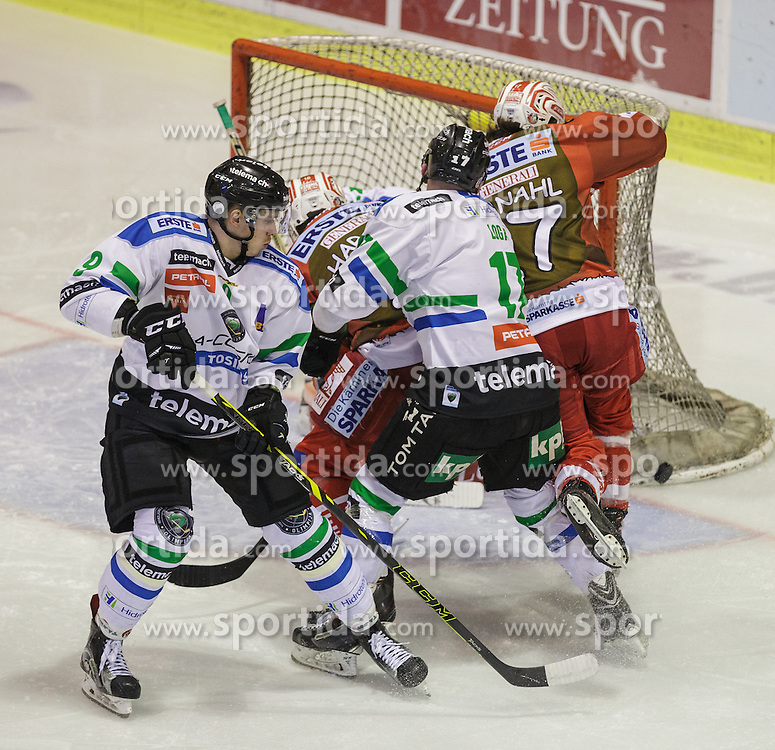 06.12.2015, Stadthalle, Klagenfurt, AUT, EBEL, EC KAC vs HDD TELEMACH Olimpija Ljubljana, 28. Runde, im Bild Nik Pem (HDD TELEMACH Olimpija Ljubljana, #9), Muha Logar (HDD TELEMACH Olimpija Ljubljana, #17), Patrick Harand (EC KAC, 16), Manuel Ganahl (EC KAC, #17) // during the Erste Bank Eishockey League 28th round match match betweeen EC KAC and HDD TELEMACH Olimpija Ljubljana at the City Hall in Klagenfurt, Austria on 2015/12/06. EXPA Pictures © 2015, PhotoCredit: EXPA/ Gert Steinthaler