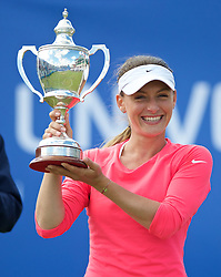 LIVERPOOL, ENGLAND - Sunday, June 21, 2015: Ana Bodgan (ROM) with the Boodles Trophy after winning the Women's Final during Day 4 of the Liverpool Hope University International Tennis Tournament at Liverpool Cricket Club. (Pic by David Rawcliffe/Propaganda)